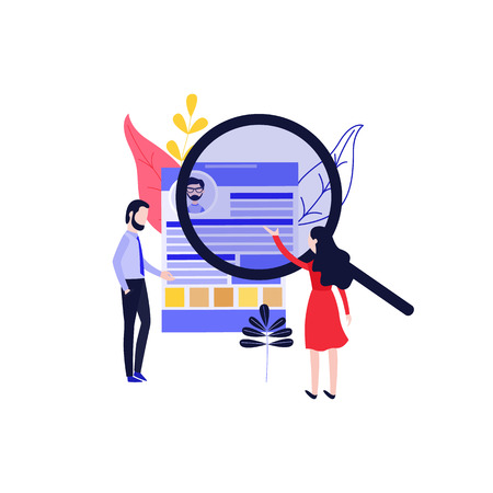Recruitment vector illustration with man and woman searching for cv of ideal candidate for position in flat style isolated on white background. Human resource concept with resume of applicant.