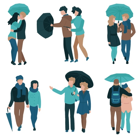 Vector illustration set of couple under umbrella in flat style isolated on white background - young male and female characters in autumn clothes holding hands walking with parasol. Ilustração