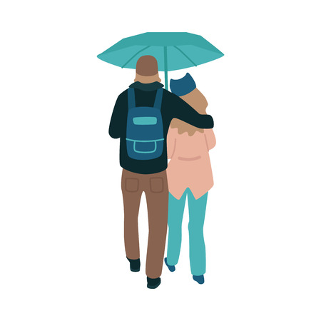 Vector illustration of young couple in autumn clothes turned by their back walking under umbrella in rainy weather in flat style isolated on white background - embracing boy and girl in fall season. Vector Illustration