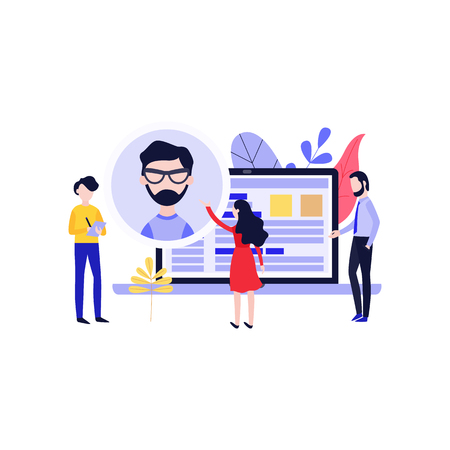 Recruitment vector illustration with people searching for cv of ideal candidate for position in flat style isolated on white background - human resource concept with resume of applicant. Illustration
