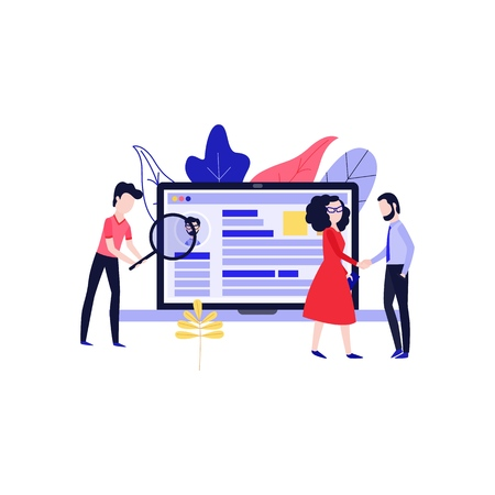 Vector illustration of recruitment and interview theme with recruiters searching for ideal candidate for position in flat style isolated on white background - employer meeting with applicant. Illustration