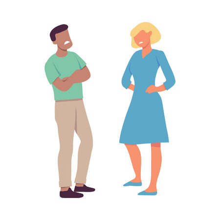 Vector illustration of two people who are disgusted with each other in flat style isolated on white background. Male and female characters feeling such negative emotions as dislike and contempt.
