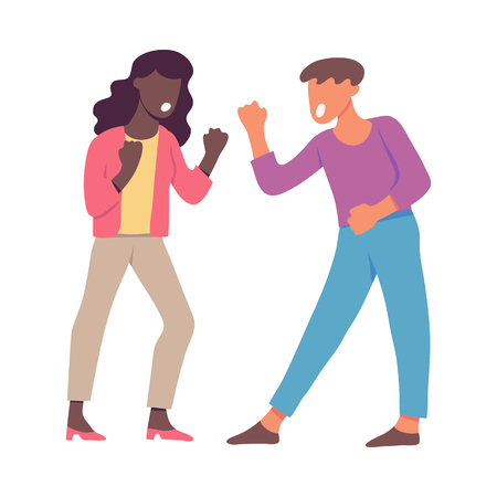 Vector illustration of quarrelling and shouting people clenching their fists in flat style isolated on white background - screaming angry male and female characters having conflict. Ilustração