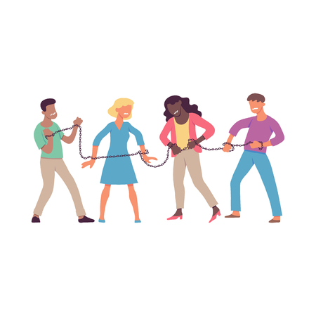 Vector illustration of bound by one chain people forced to work or be together in flat style isolated on white background - disgusted men and women trying to break chain.