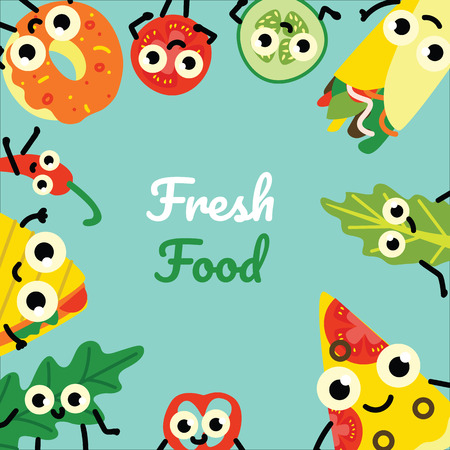 Vector illustration of fast food border frame on square banner with fresh full meals and vegetables cartoon characters with cute smiling faces on green background in flat style.