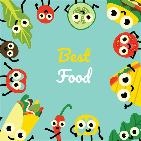 Vector illustration of fast food and vegetables border frame - cute emoticons of various meals and ingredients with smiling faces in flat style on green background with copy space. Иллюстрация