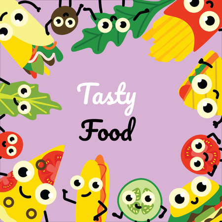 Vector illustration of fast food border frame on square banner with tasty full meals and vegetable ingredients cartoon characters with cute smiling faces in flat style on violet background.