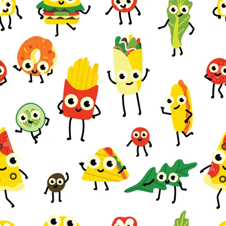 Vector illustration of fast food seamless pattern with various full meals and vegetable ingredients cartoon characters with cute smiling faces in flat style on white background.