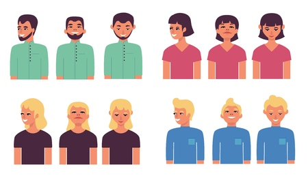 People avatars vector illustration set with half length portraits of young men and women isolated on white background - flat smiling male and female characters for placeholder.