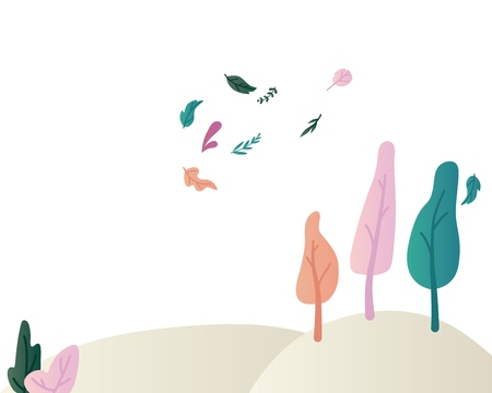 Fantasy landscape vector illustration with beautiful magic trees and shrubs on hills and flying leaves. Mysterious scenery - flat natural skyline with plants with colorful foliage. Illustration