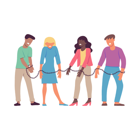 Vector illustration of bound by one chain people forced to work or be together in flat style isolated on white background. Disgust and dislike of resigned men and women to each other. Illustration