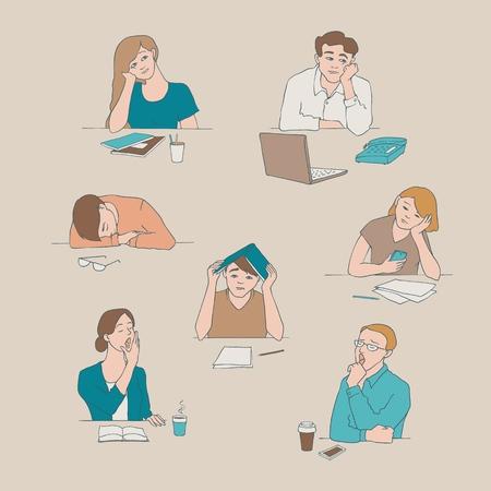 Croquis de vecteur de jeunes étudiants ennuyés et fatigués assis avec des tasses de thé ou de café avec des expressions faciales ennuyeuses et fatiguées. Jeunes hommes, femmes assises derrière un ordinateur portable, illustration de livres béants