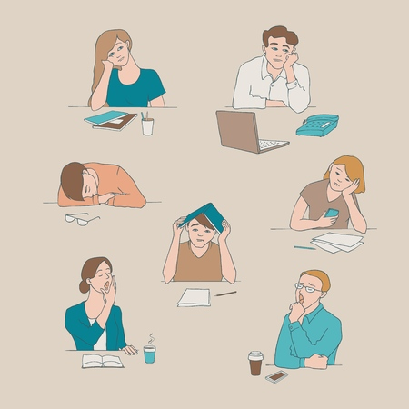 Vector sketch young bored, tired students set sitting with cups of tea or coffee with boring, tired facial expressions. Young men, women sitting behind laptop, books yawning illustration Stock Illustratie