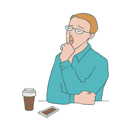 Bored man vector illustration - young male character yawning while sitting at table with paper cup of coffee and mobile phone in sketch style isolated on white background. Illustration