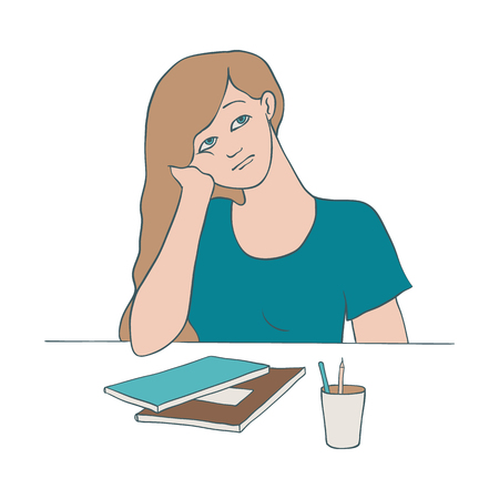 Bored woman vector illustration of young female character sitting at table with notepads and chancery and leaning her head on her arm in sketch style isolated on white background.