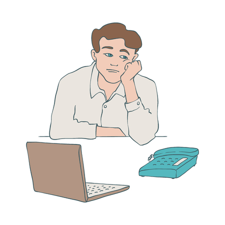 Bored man vector illustration of young male character sitting at table with laptop and phone and leaning his head on his arm in sketch style isolated on white background.