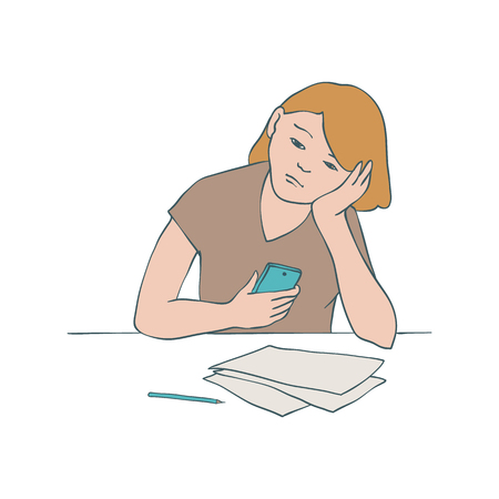 Bored girl vector illustration of young uninterested woman sitting at table with documents and mobile phone and leaning her head on her arm in sketch style isolated on white background. Çizim