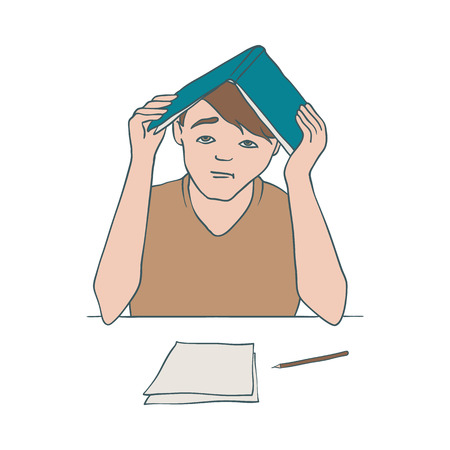 Vector illustration of bored and tired man sitting at table with documents and covering his head with open book - overworked and uninterested boy in sketch style isolated on white background.
