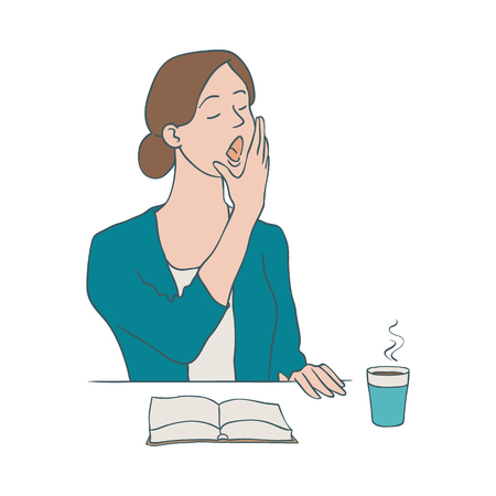 Bored woman vector illustration - young uninterested female character yawning while sitting at table with paper cup of coffee and open book in sketch style isolated on white background.