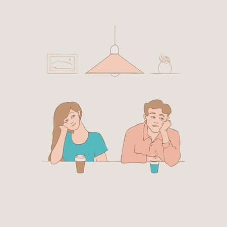 Sketch bored young man and woman students or managers sitting with cups of tea or coffee with boring, tired facial expressions with vintage lamp at background. Vector illustration Çizim