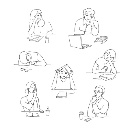 Vector sketch young bored, tired students set sitting with cups of tea or coffee with boring, tired facial expressions. Young men, women sitting behind laptop, books yawning monochrome illustration
