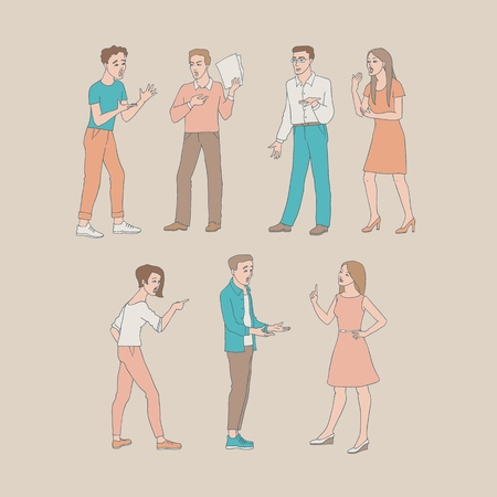 Arguing people vector illustration set with conflicting aggressive young men and women in sketch style - hand drawn isolated misunderstanding of disputing male and female characters. Ilustração