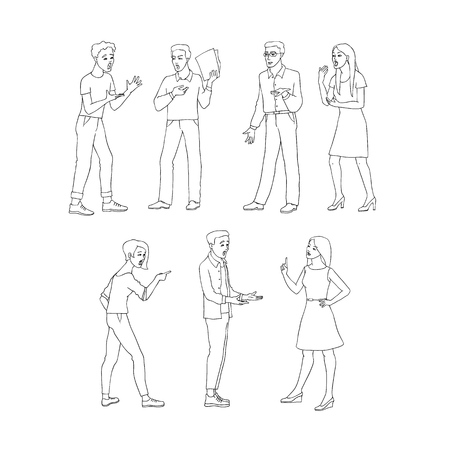 Argue vector illustration set with conflicting aggressive young men and women in sketch style isolated on white background. Misunderstanding of disputing male and female characters. Ilustração