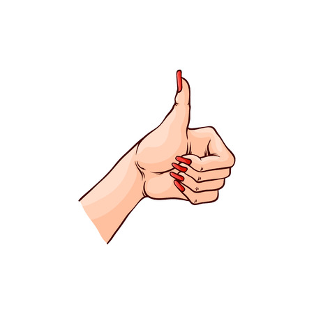 Vector illustration of female hand with thumbs up gesture in sketch style isolated on white background. Hand drawn woman wrist with manicure and red nail polish showing approvement and okay sign.