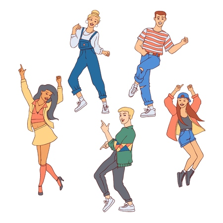 People dance vector illustration set - diversity young men and women doing movements and having fun in sketch style isolated on white background. Hand drawn boys and girls at party or dancing class.