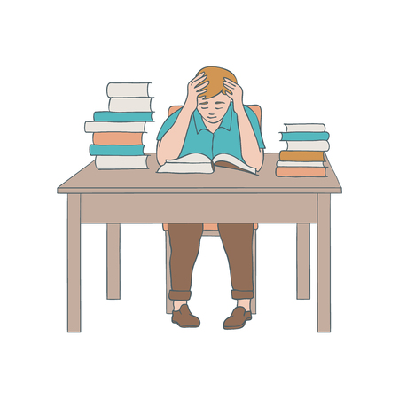 Vector illustration of reading man sitting at table with stack of books with hardcover in sketch style isolated on white background. Hand drawn studying or relaxing young boy.