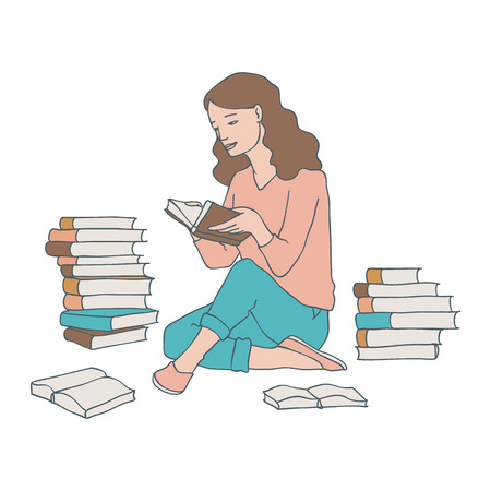 Vector illustration of reading woman sitting on floor with stack of books with hardcover in sketch style isolated on white background. Hand drawn studying or relaxing young girl.