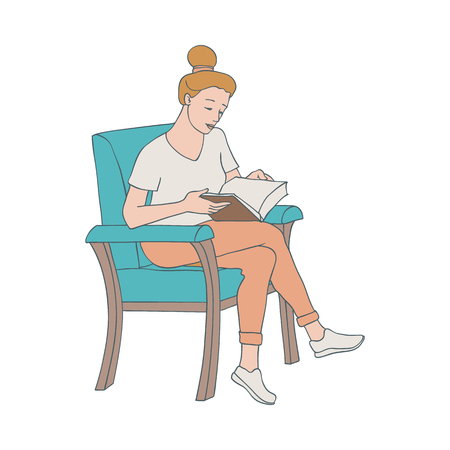Vector illustration of reading woman sitting in chair with open paper book with hardcover in sketch style isolated on white background - hand drawn young girl with literature. Иллюстрация