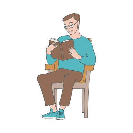 Vector illustration of reading man sitting in armchair with open book with hardcover in sketch style isolated on white background - hand drawn young boy with literature source.