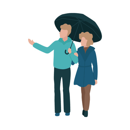 Vector illustration of young couple holding hands walking under umbrella in flat style isolated on white background - man put out his hand from under umbrella in rain and keeping woman by arm. Ilustração