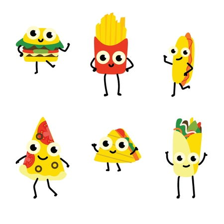 Vector illustration set of fast food cartoon characters in flat style isolated on white background - various cute smiling emoticons of full meals with vegetables and meat. Stock Illustratie