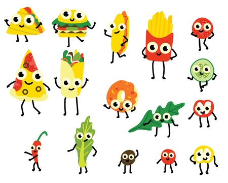 Vector illustration set of fast food and vegetable ingredients cartoon characters in flat style isolated on white background - various cute emoticons of junk and vegetarian meals.