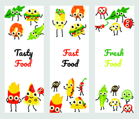 Vector illustration set of fast food vertical banners with various full meals and vegetable ingredients cartoon characters with cute smiling faces in flat style isolated on white background.