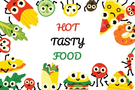 Vector illustration fast food banner with border frame of various full meals and vegetable ingredients cartoon characters with cute smiling faces in flat style isolated on white background. Çizim