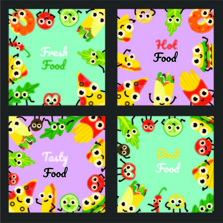Vector illustration set of fast food square banners with border frames of various full meals and vegetable ingredients cartoon characters with cute smiling faces in flat style on colorful backgrounds.