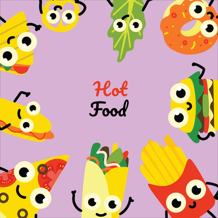 Vector illustration of fast food square banner with frame of hot and tasty full meals and vegetables cartoon characters with cute smiling faces on violet background in flat style.