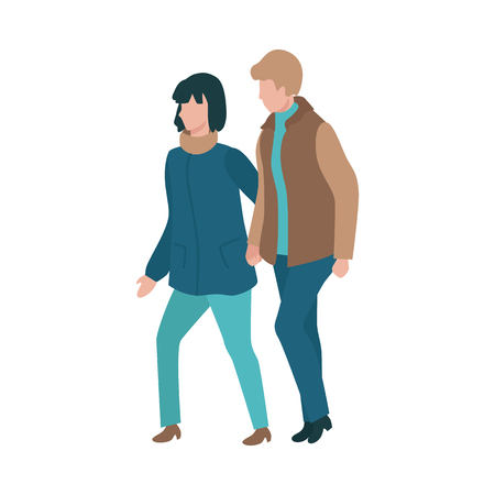 Vector couple walking holding hands at autumn in warm outdoor clothing - coats and scarf. Young man and woman dating outdoors together. Illustration with male and female characters at romantic walk Illustration