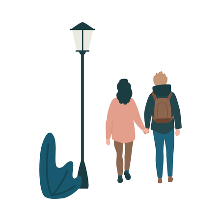 Vector couple walking holding hands back view at autumn in warm outdoor clothing at streetlight background. Young man in hoodie, backpack and woman dating outdoors together. Male female characters