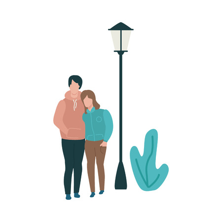 Vector couple hugging at autumn in warm outdoor clothing on streetlight abstract floral background. Young man and woman dating outdoors together. Illustration with male female characters embracing Illustration