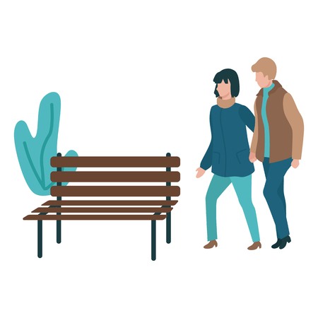 Vector couple walking holding hands at autumn in outdoor clothing on bench, abstract florals background. Young man and woman dating together. Illustration with male female characters at romantic walk