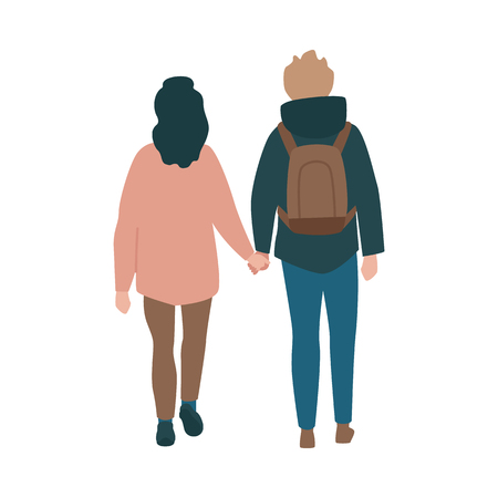 Vector couple walking holding hands back view at autumn in warm outdoor clothing. Young man in hoodie, backpack and woman in jacket dating outdoors together. Illustration with male female characters