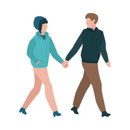 Vector couple walking holding hands at autumn in warm outdoor clothing - coats and hat. Young man and woman dating outdoors together. Illustration with male and female characters at romantic walk Illustration