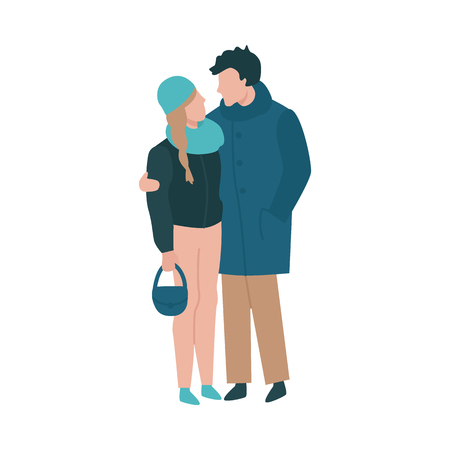 Vector couple standing hugging at autumn in warm outdoor clothing coat, jacket scarf and hat. Young man woman with handbag dating outdoors together. Illustration with male female characters embracing