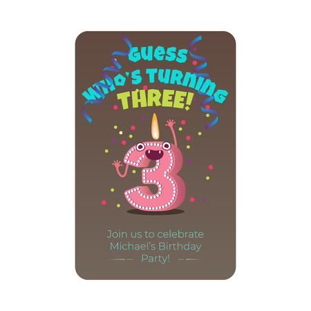 Cute birthday poster with candle number three 3 character with flame at his head dancing, guess whos turning three inscription. Kids birthday holiday party background design. Vector illustration