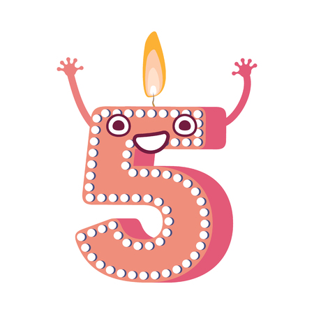 Cute birthday candle number five 5 character with flame at his head dancing. Typographic humanized symbol with hands, arm and face emotions. Kids birthday holiday party font sign. Vector illustration Illusztráció