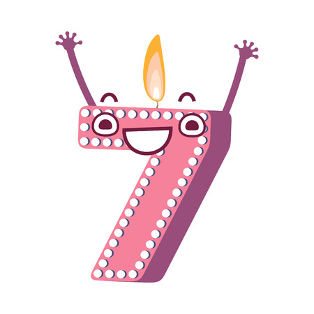 Cute birthday candle number seven 7 character with flame at his head dancing. Typographic humanized symbol with hands, arm and face emotions. Kids birthday holiday party font sign. Vector illustration